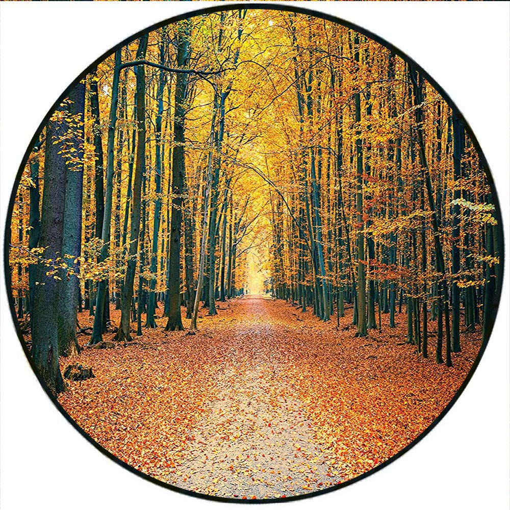 Short Plush Round Rug Romantic Autumn Alley in The Woods and Forest Living Kids Girls Boys Accessories Olive Brown Paprika Anti-Slip Children's Floor 19.7'' x 19.7'' Round