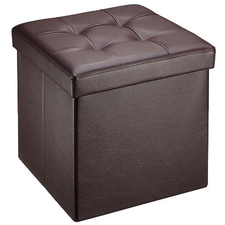 Ollieroo Faux Leather Folding Storage Ottoman Bench Seat Foot Rest Stool (15u201dx15u201d  sc 1 st  Amazon.com & Amazon.com: Ollieroo Faux Leather Folding Storage Ottoman Bench ... islam-shia.org