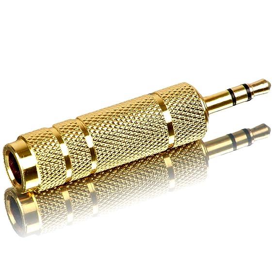 Movoja 6,35 mm auf 3,5mm Stereo Adapter | Audio Umwandler Converter für Kopfhörer oder Lautsprecher | Ohne Kabel | 6,3 auf Au