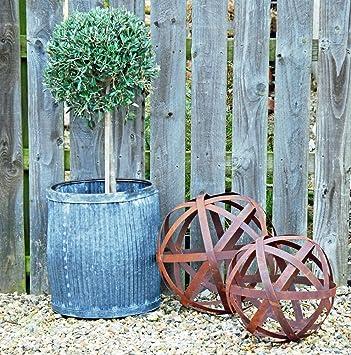 Bluebell Yard Large Wisley Round Rusted Metal Garden Sculpture Sphere  Gazing Ball: Amazon.co.uk: Garden U0026 Outdoors