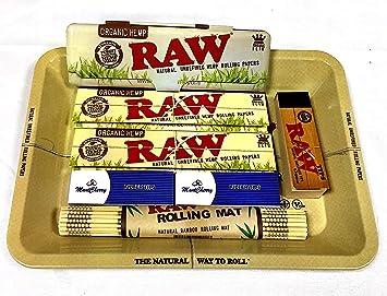 Set RAW de regalo de los años 70 con bandeja de metal para fumador: Amazon.es: Hogar