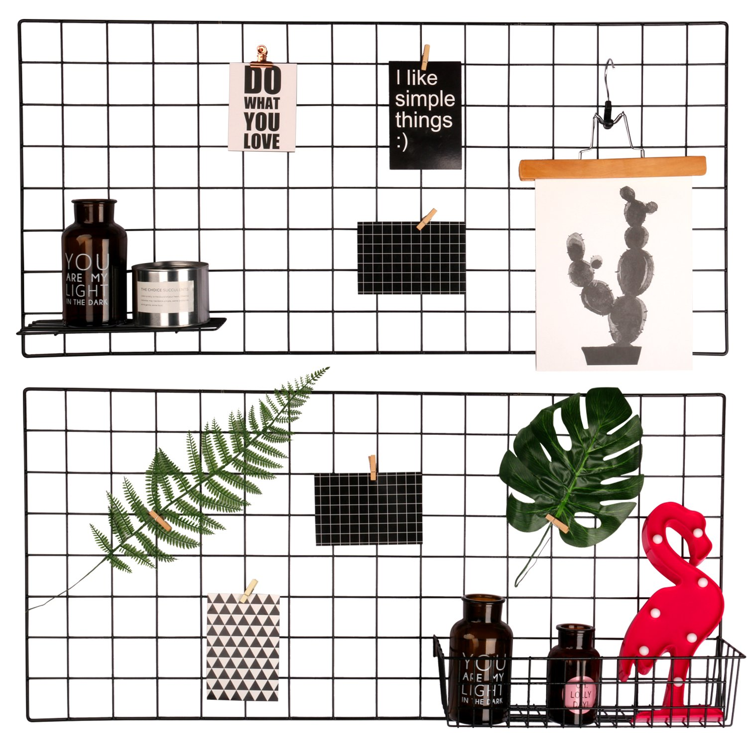 hosaken Multifunction Grid Panel,Wall Decor/Sculptural Frames & Holders/Wall Display/Organizer, Pack of 2 Pcs, Size:15.7'' x 31.5'' / 40 x 80 cm,Black by hosaken