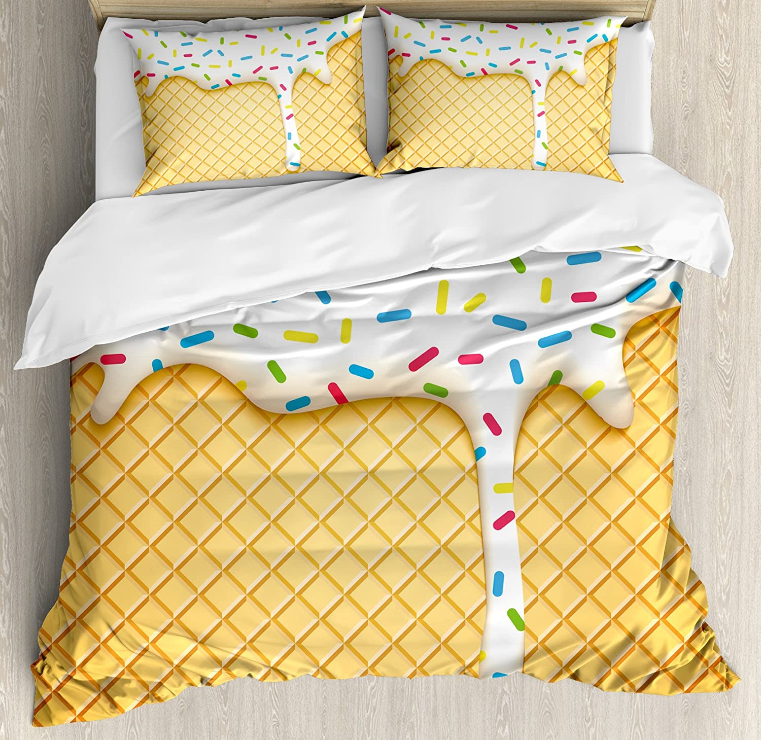 Ambesonne Food Duvet Cover Set, Cartoon Like Image of and Melting Ice Cream Cones Colored Sprinkles Print, Decorative 3 Piece Bedding Set with 2 Pillow Shams, Queen Size, Yellow White