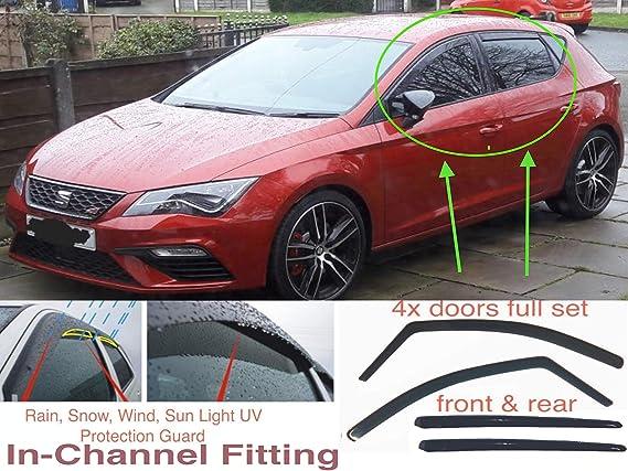 TYP 5F 5-DOOR HATCHBACK 2012 2013 2014 2015 2016 2017 2018 2020 Acrylic Glass Side Visors Window Deflectors OEMM Set Of 4 Wind Deflectors IN-CHANNEL Type Compatible with SEAT LEON MK3