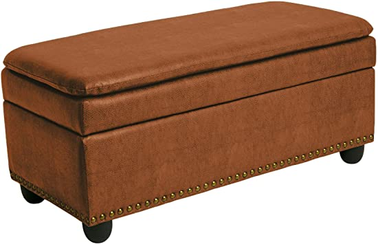 400 lb. Capacity Blue Haze BrylaneHome Extra Wide Ottoman with Studs