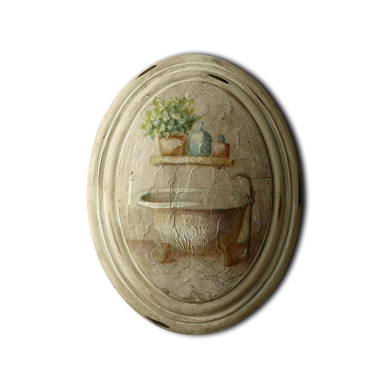 Primitive Vintage Hand Painted Oval Wooden Frame Wall Hanging 3D Painting Decoration Art CVHOMEDECO Bathroom Design 6-3//4 x 8-3//4 Inch