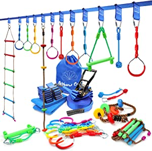 rainbow craft Ninja Line Obstacle Course for Kids Backyard Training- High Strength Towing Strap Grade Ninjaline, 7pc Ninja Rings, Climbing Rope Ladder, Climbing Rope, Monkey Bar&2pc Ninja Fists Holds