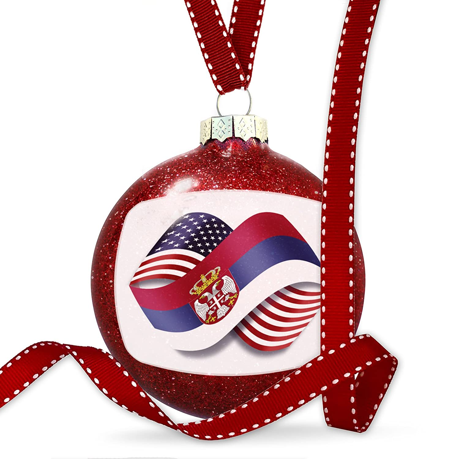 NEONBLOND Christmas Decoration Infinity Flags USA and Serbian Ornament
