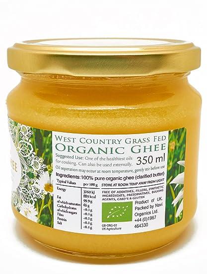 Ghee Bio Calidad Superior, Vacas Alimentadas con Pasto, Certificado Orgánico, Producto de Pasto de Verano en Inglaterra (350ml): Amazon.es: Alimentación y ...