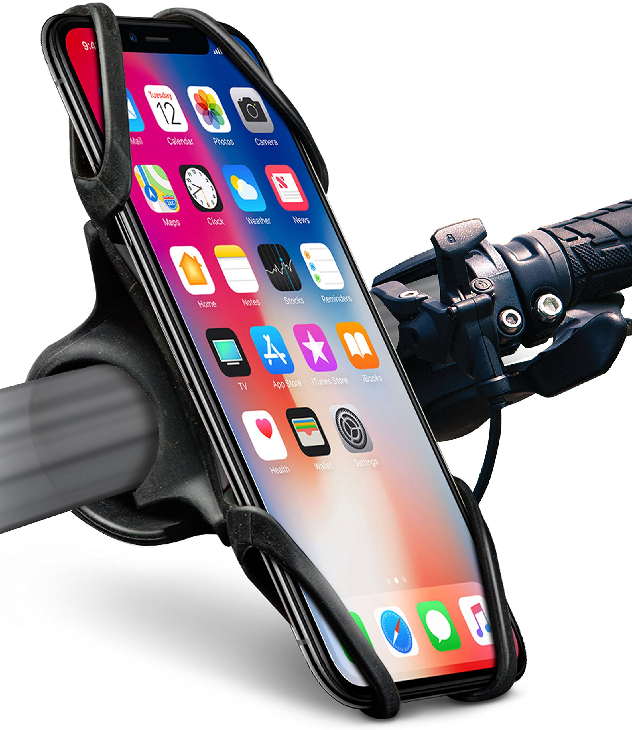 Okra Bike Phone Mount Bicycle Holder for iPhone X 8 7 6 6s Plus, [Web Grip] Silicone Bicycle Motorcycle Universal Grip Cradle Clamp Holder for all Smartphones by Okra