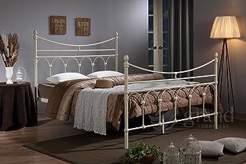 Atlanta Cadre de lit en métal Crème Double Lit king size de style ...