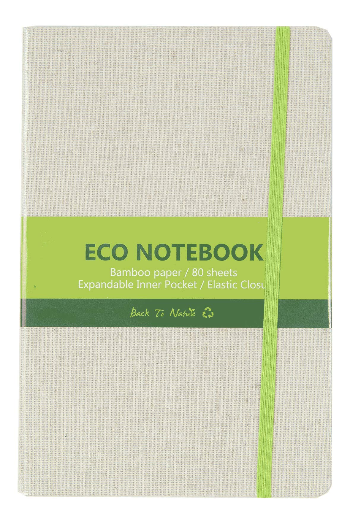 25 Pack Eco-Friendly A5 Linen Notebook, 5.5 x 8.25, Bamboo Ruled Paper, 80 Sheets 25 Piece Case Pack by goindico
