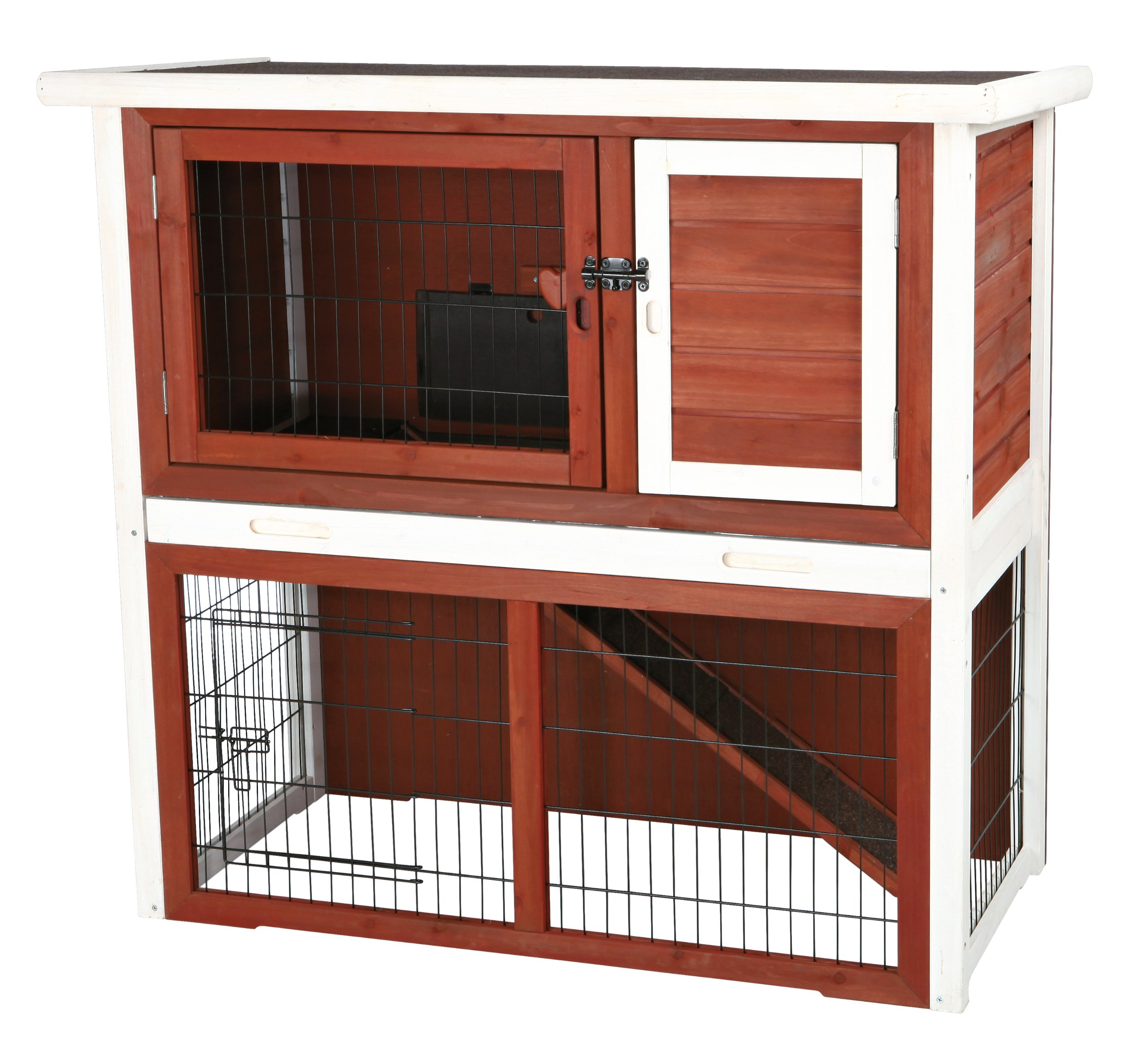 Trixie Pet Products Rabbit Hutch with Sloped Roof, Medium, Brown/White by Trixie