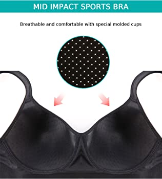 86f8b6906e12a Wingslove Women s Seamless Wirefree Sports Bra Medium Impact Bras (Deep  Black