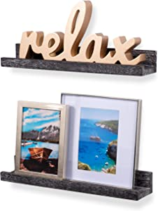 Rustic State Ted Wall Mount Narrow Picture Ledge Shelf Display | 17 Inch Floating Wooden Shelves Distressed Black Set of 2