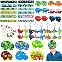 64pcs JoyJon Dinosaur Party Favor Party Supplies Dinosaur Keychains, Rings, Slap Bracelets, Temporary Tattoos, Masks for…