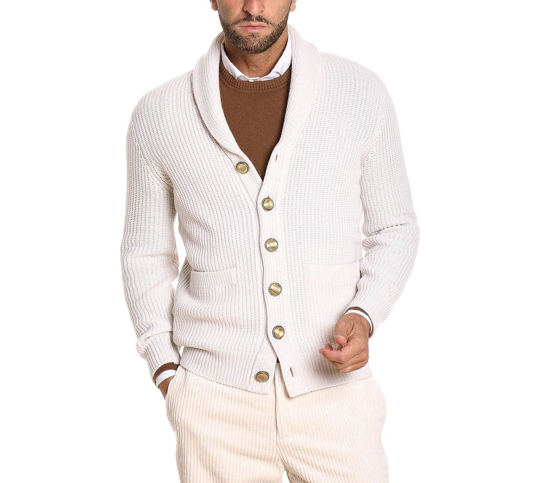 57e16052ef Brunello Cucinelli Men's M3657736C9202 White Wool Cardigan at Amazon ...