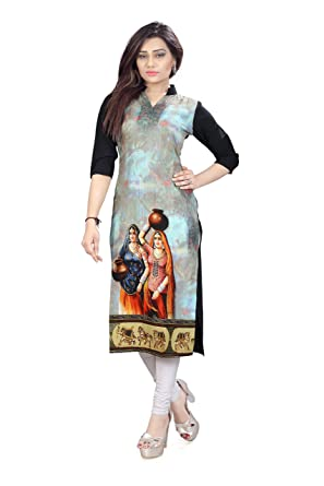 New Ethnic 4 You Women's Crepe Kurti (Multicolour) Kurtas & Kurtis at amazon