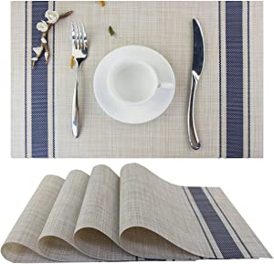 Bright Dream Placemats Vinyl Heat-resistand Kitchen Table Setting Mats Washable Table Mats Set of 4(Navy)