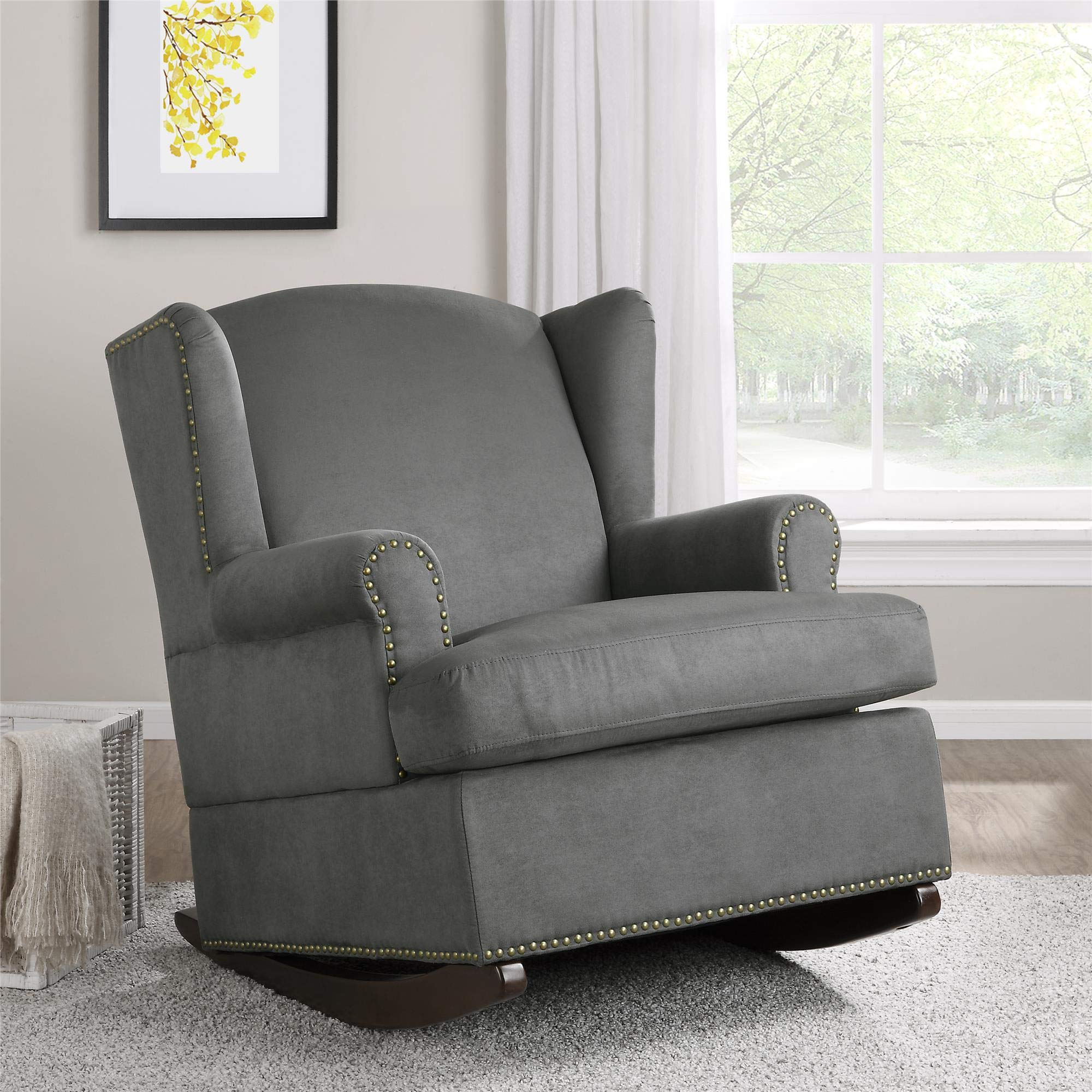 Baby Relax Harlow Wingback Nursery Room Rocker with Nail Heads, Charcoal Gray by Baby Relax