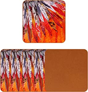 American Indian Feather Orange Coasters for Drinks Set of 6, Leather Square Mug Cup Pad Mat for Protect Furniture, Heat Resistant, Kitchen Bar Decor