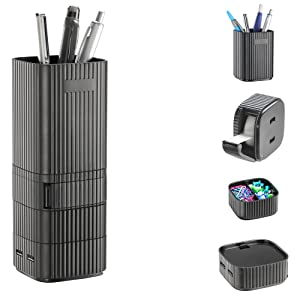 On My Desk Desktop Tower Organizer, Pencil Cup, Storage Cup, Tape Dispenser with USB 2.0 Hub/Charger, Charges 2 USB Devices, Black (OMD16001)