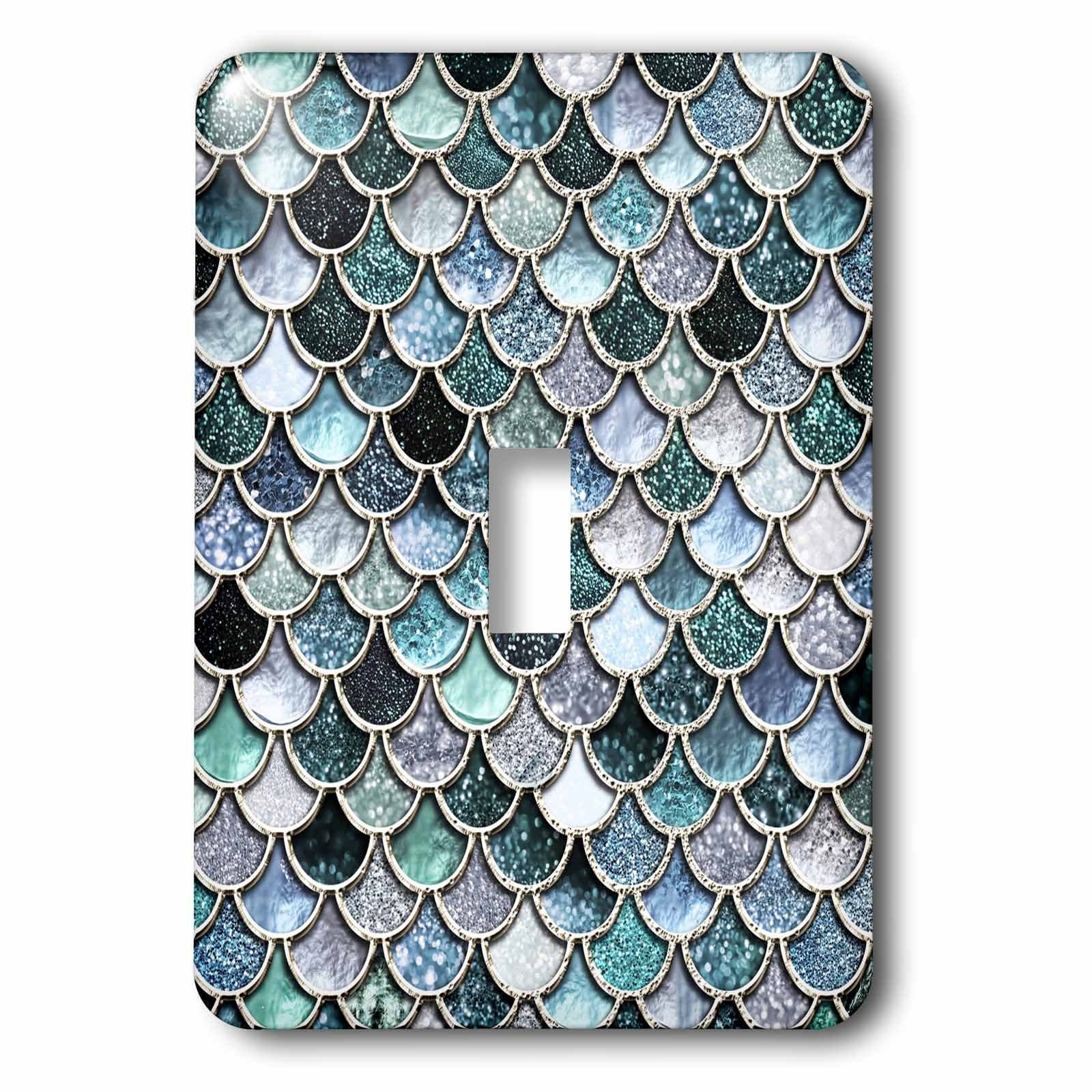 3dRose lsp_272863_1 Multicolor Girly Blue Luxury Elegant Mermaid Scales Glitter Toggle Switch, Mixed by 3dRose (Image #1)