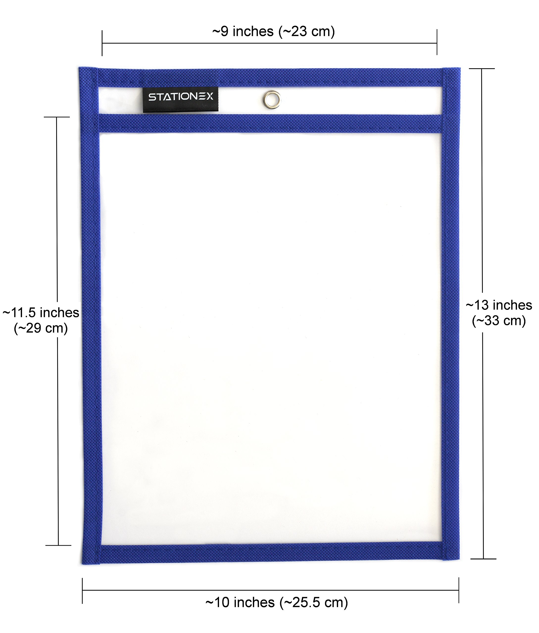 Reusable Dry Erase Pockets, Large Size 10 x 13 Inches, 10 Assorted Color Write and Wipe Off Sleeves + 2 Erasers per Pack - by Stationex by Stationex (Image #3)