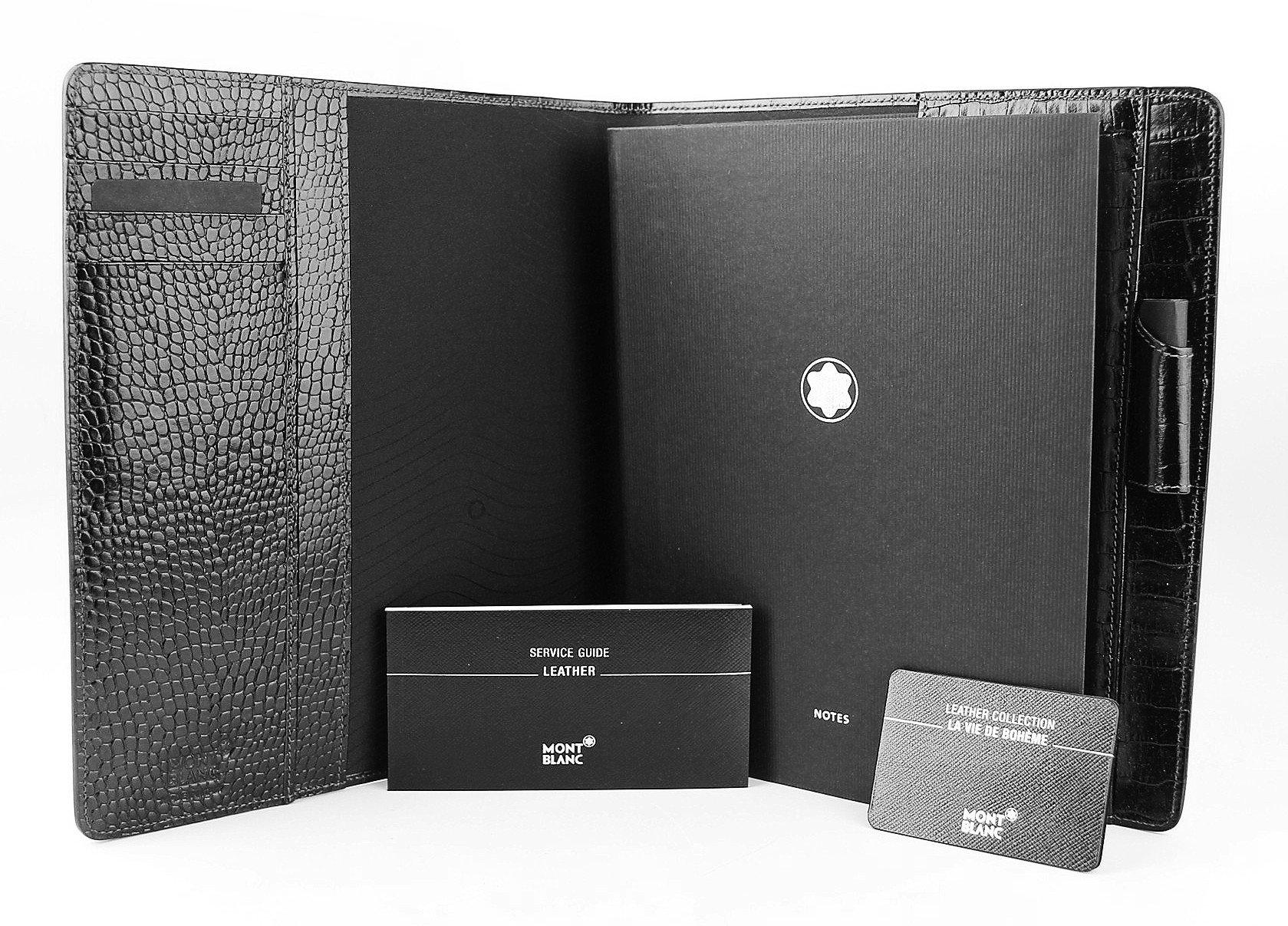 MONTBLANC LA VIE DE BOHEME 100% BLACK LEATHER MEDIUM 8''x9'' NOTEBOOK 107617 ITALY