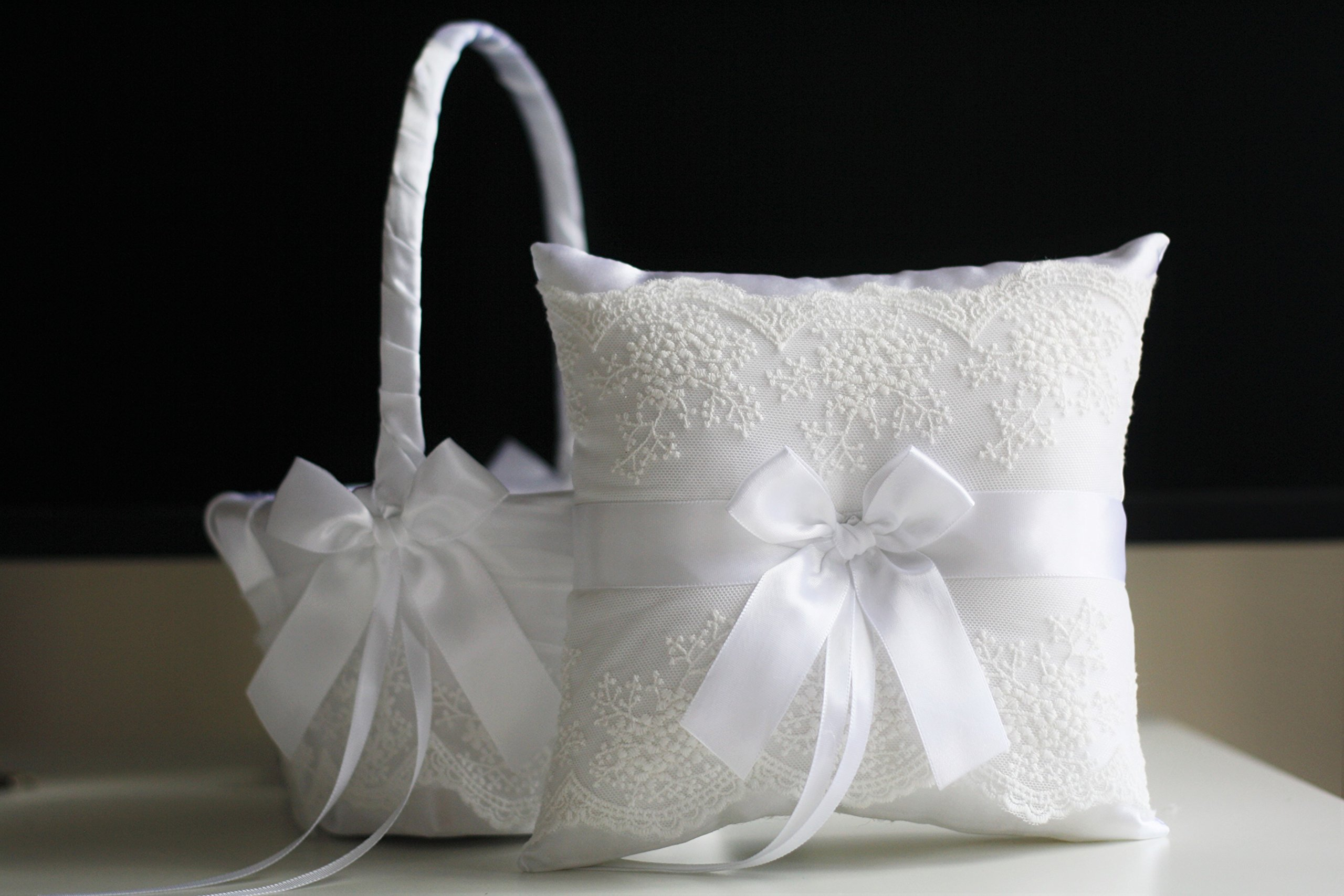 Alex Emotions White Flower Girl Basket & Ring Bearer Pillow Set Lace Collection | White Ring Holder | White Wedding Basket by Alex Emotions