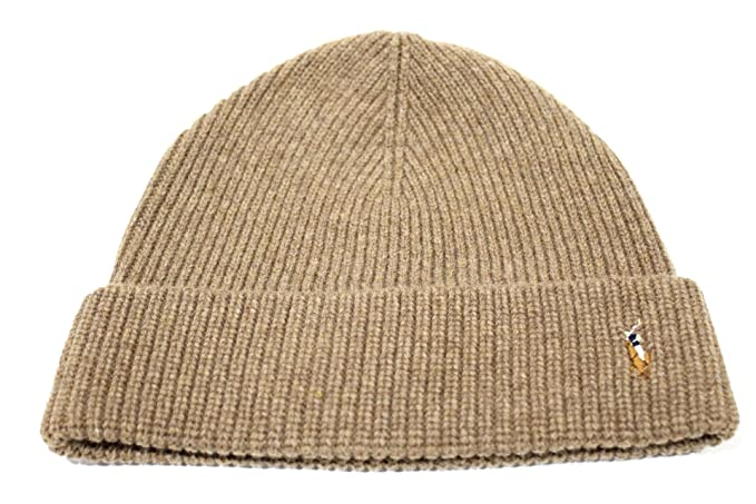 5c236309a17 Image Unavailable. Image not available for. Color  Polo Ralph Lauren  Adult s Merino Cuff Light Brown Beanie Hat One Size