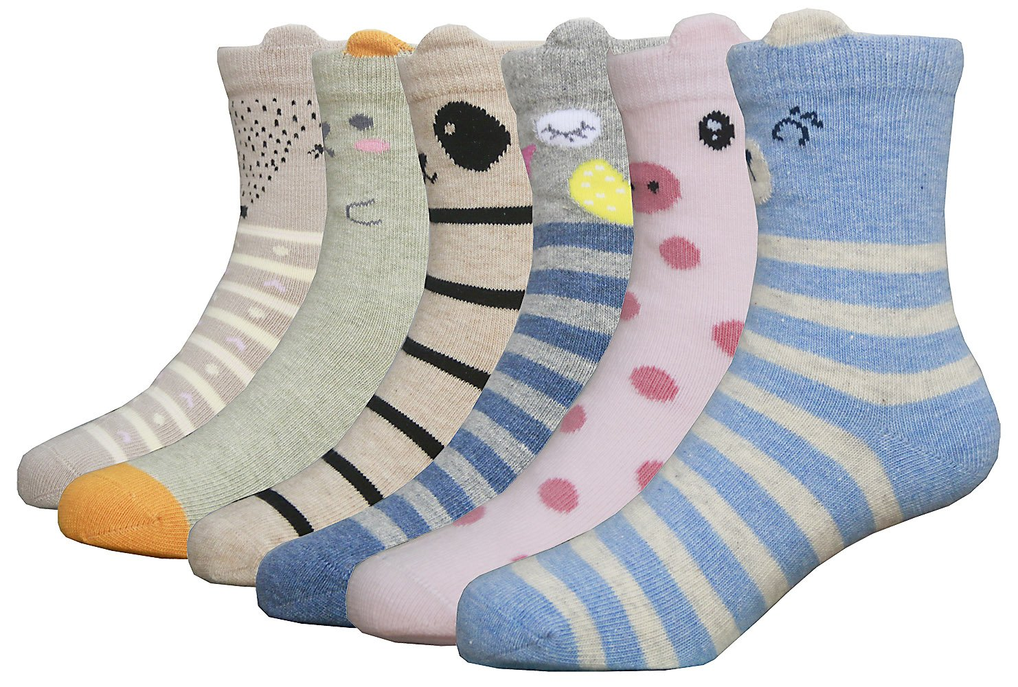 HzCodelo Kids Toddler Big Little Girls Fashion Cotton Crew Seamless Socks -6 Pairs,Multicolor,Shoe size 12.5-3/L by HzFluo.Codelo (Image #2)