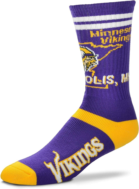For Bare Feet Minneosta バイキングス ステート ストライプ メンズ NFL クルーソックス Mサイズ 5-10