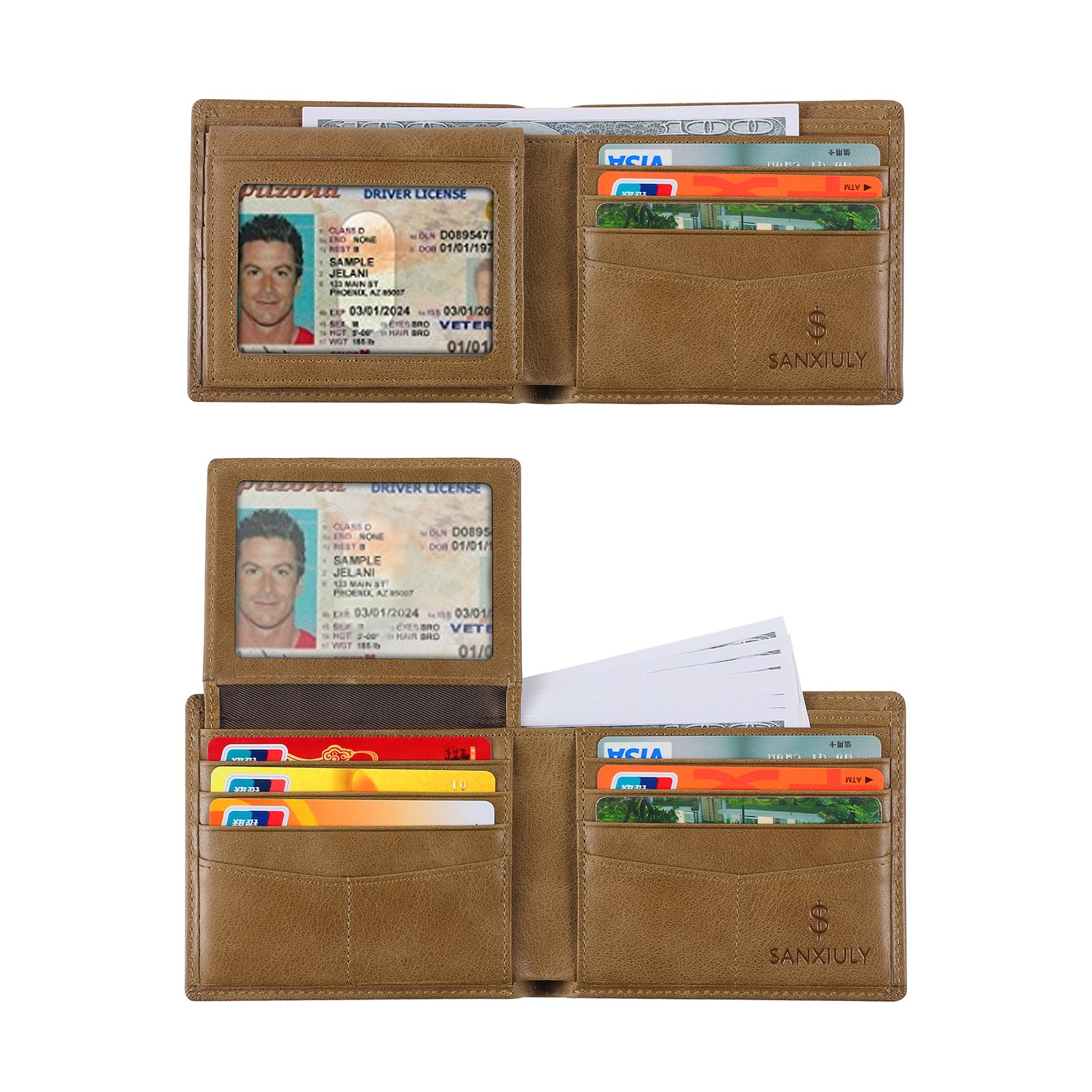 SANXIULY Mens Genuine Leather Bifold Wallet Extra Capacity With 2 ID Window And RFID Blocking color Waxed Leather Brown
