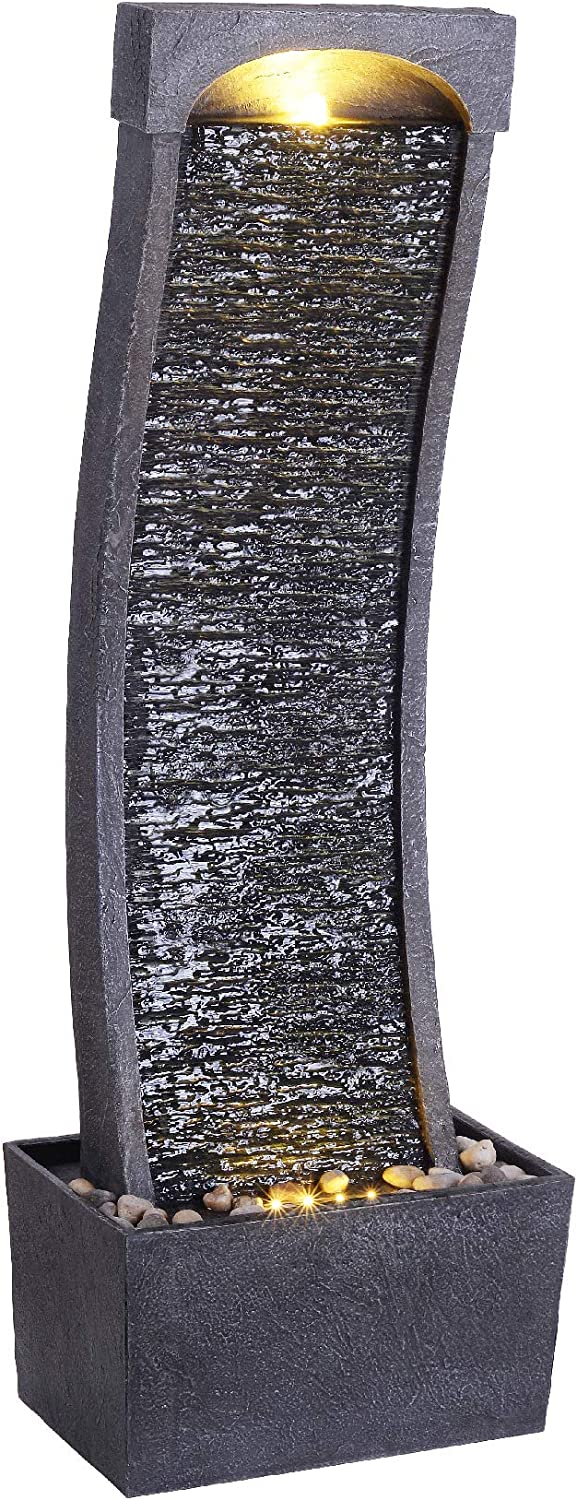 Peaktop Indoor/Outdoor Stone Waterfall Water Fountain with LED Lights for Garden Patio and Deck, Gray, 13 x 8 x 37.8