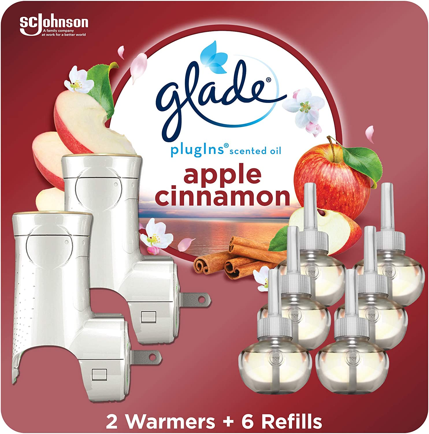 Glade PlugIns Refills Air Freshener Starter Kit, Scented Oil for Home and Bathroom, Apple Cinnamon, 4.02 Fl Oz, 2 Warmers + 6 Refills