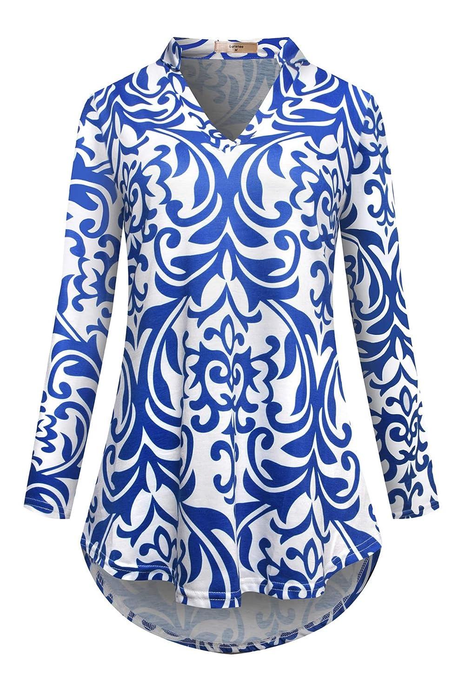 Luranee Womens Long Sleeve Tunic Tops Notch V Neck High Low Hem Blouse Shirts