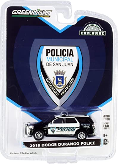 2018 Dodge Durango Police Black And White Policia Municipal De San Juan Puerto Rico Hobby Exclusive 1 64 Diecast Model Car By Greenlight 30197 Toys Games