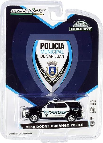 2018 Dodge Durango Police Black and White Policia Municipal de San Juan (Puerto Rico) Hobby Exclusive 1/64 Diecast Model Car by Greenlight 30197