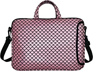 "15.6-Inch Laptop Shoulder Carrying Bag Case Sleeve For 14"" 15"" 15.6 inch Macbook/Notebook/Ultrabook/Chromebook, Mermaid Scale (Pink)"
