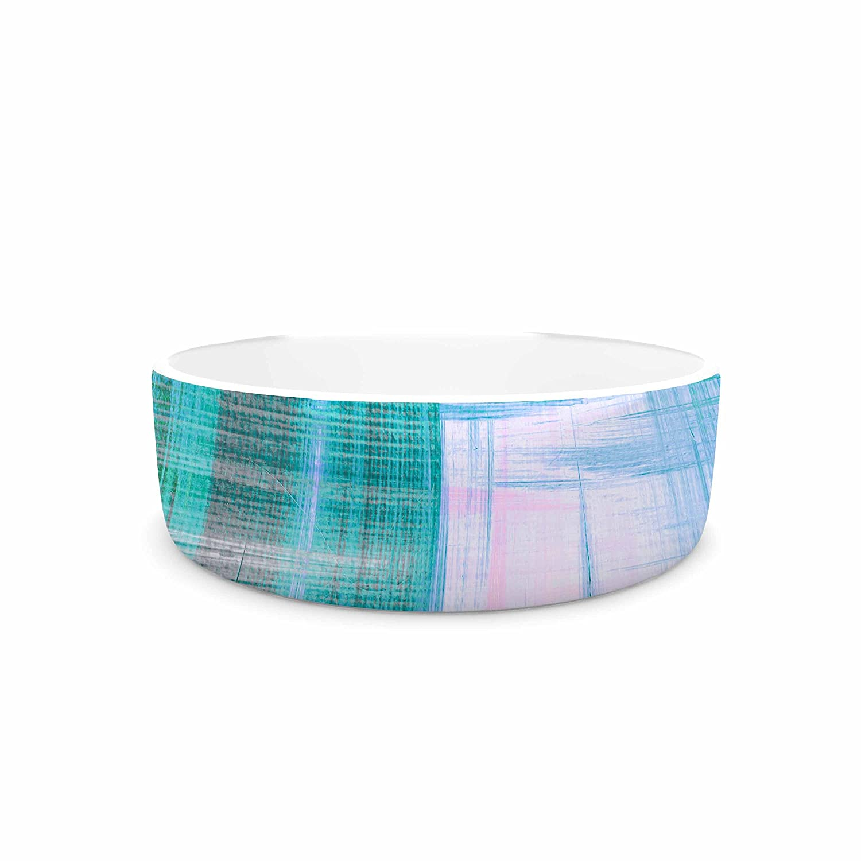 KESS InHouse EBI Emporium Tartan Crosshatch 3, Teal Teal Black Painting Pet Bowl, 7  Diameter