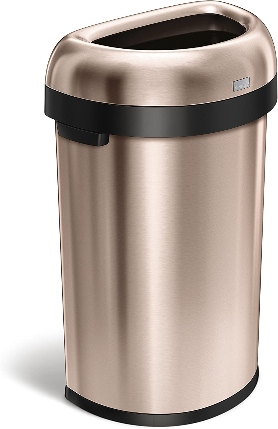 simplehuman 60 Liter 15.9 Gallon Commercial Heavy-Gauge Stainless Steel Large Semi-Round Open Trash Can Dark Bronze Stainless Steel Code P 60 Pack Liners