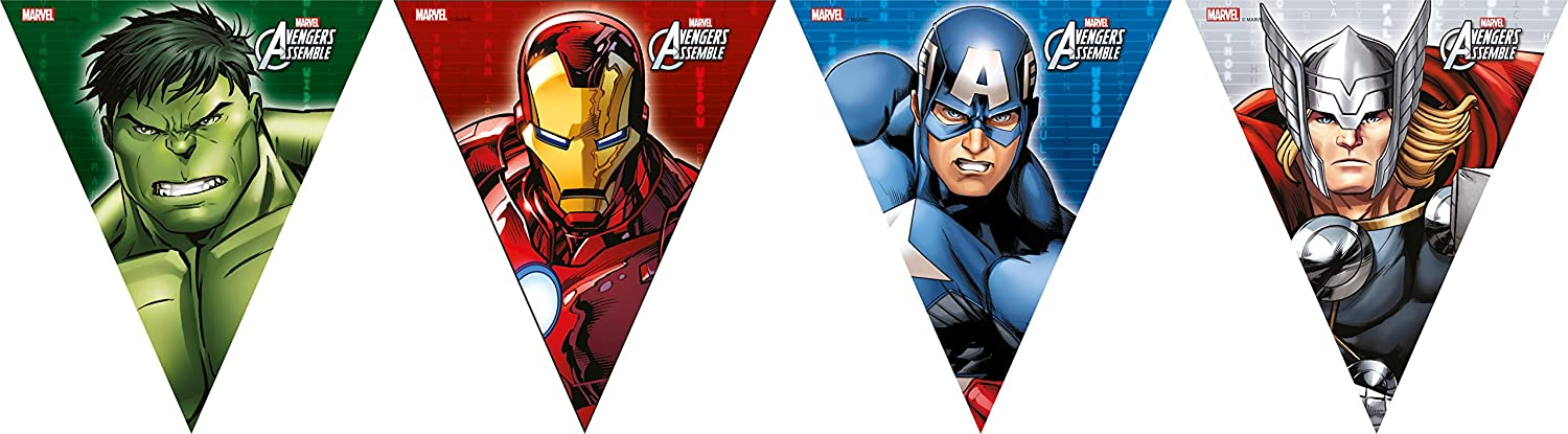 Marvel Unique Party 72071 - 2.6m Avengers Assemble Bunting Banner in Cardboard