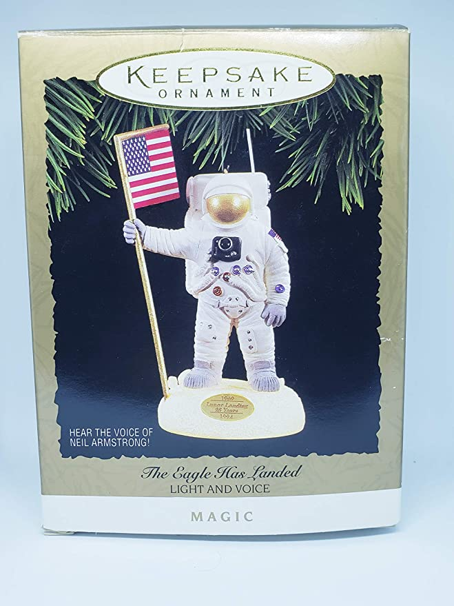 Hallmark Eagle Has Landed Ornament 1994 Lights /& Hear Voice Neil Armstrong speak