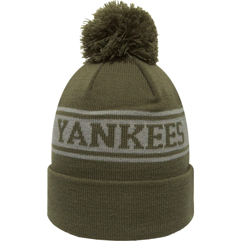 b83b9b17277 Amazon.com  New Era New York Yankees Olive Green Seasonal Jake Beanie Hat  MLB  Clothing