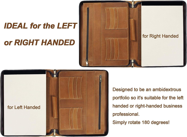 Conf/érencier A4 en cuir avec fermeture /éclair et porte-cartes pour droitiers et gauchers cadeau pour homme et femme non-custom marron