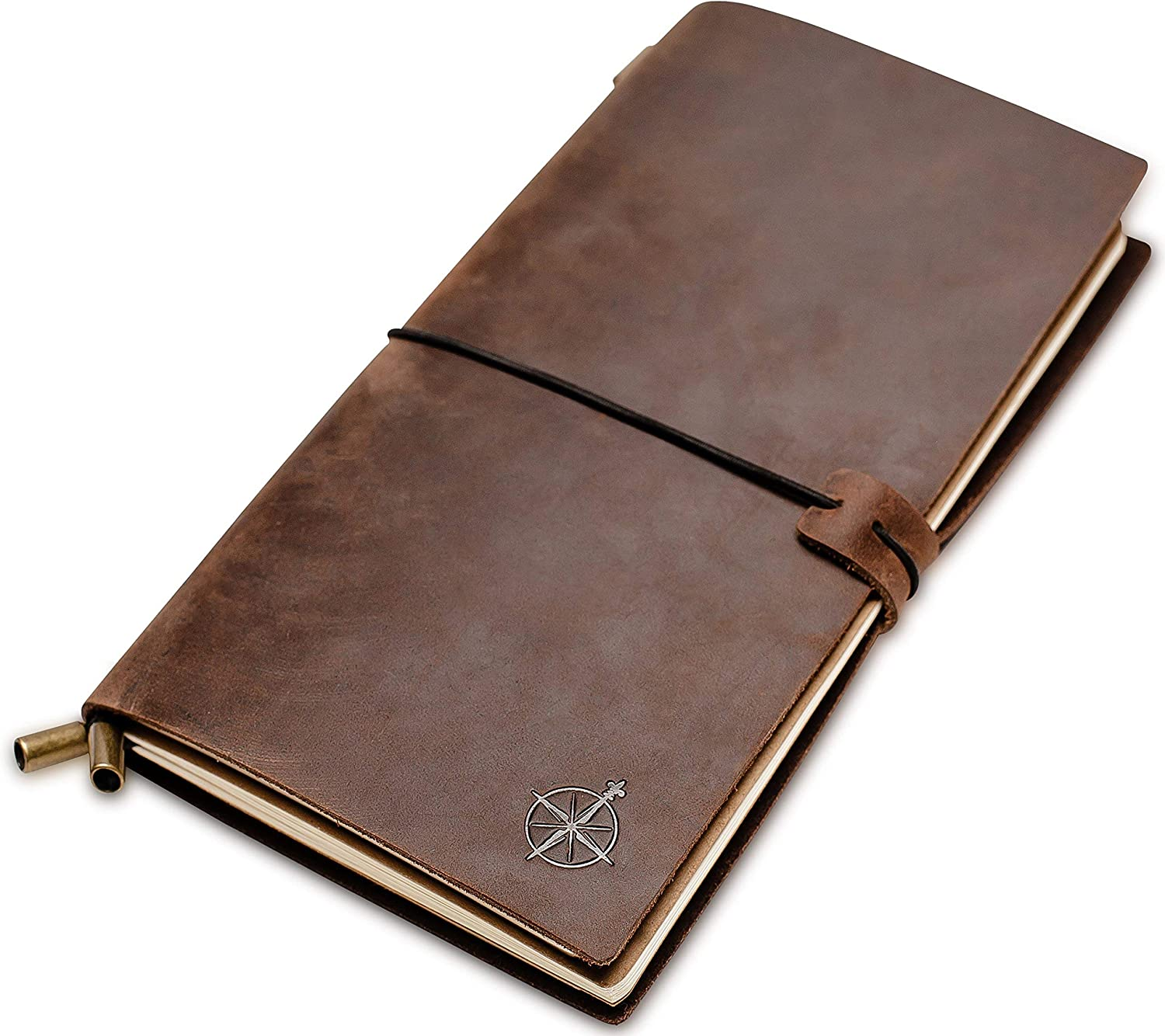 """Lined Leather Travel Journal - Wanderings Travelers Notebook, Refillable - Perfect for Writing, Poetry, To Do Lists, Travelers, a Diary. Standard Size Lined Inserts - 8.5""""x4.5"""""""