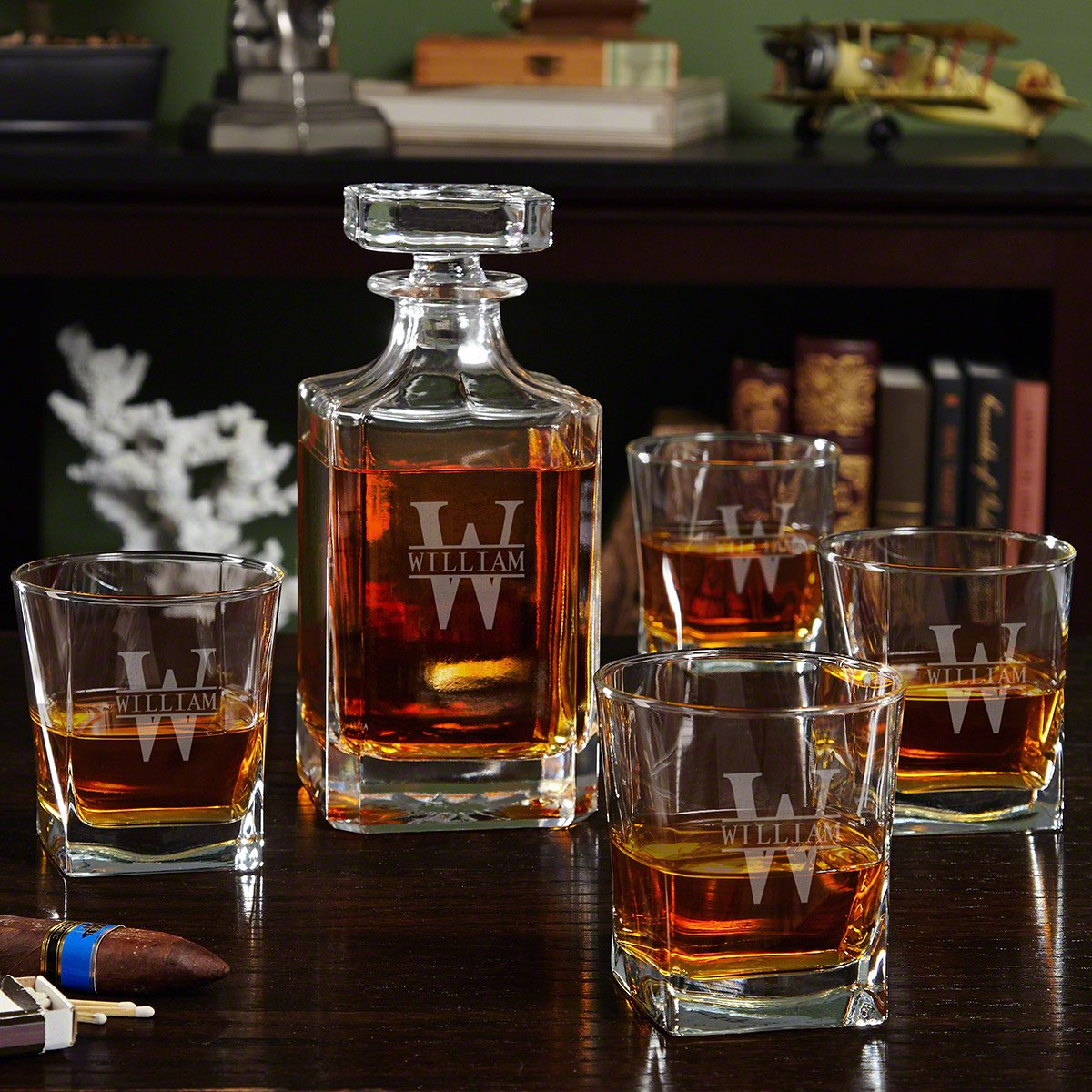 Oakmont Etched Whiskey Decanter Set with Square Rocks Glasses by HomeWetBar - Great for Whiskey Lovers
