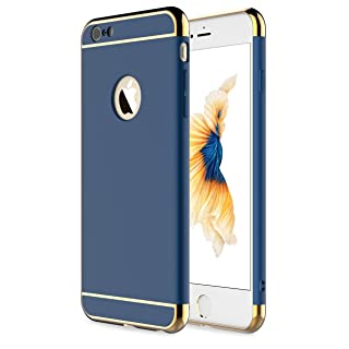 "RORSOU iPhone 6 Case, iPhone 6s Case, 3 in 1 Ultra Thin and Slim Hard Case Coated Non Slip Matte Surface with Electroplate Frame for Apple iPhone 6 (4.7"") and iPhone 6S (4.7"") - Blue and Gold"