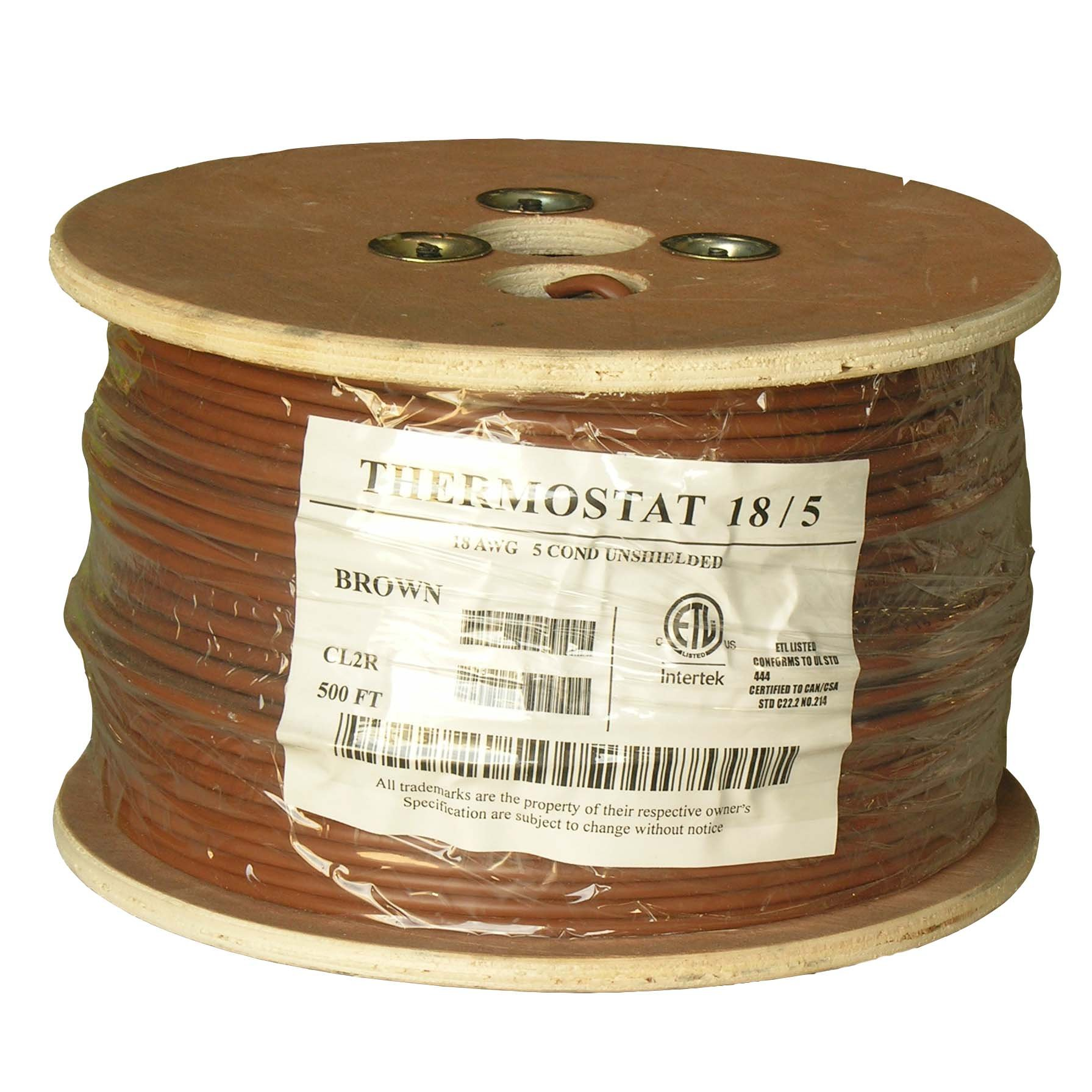 500Ft 18/5 Unshielded CMR Thermostat Cable Solid Copper PVC by InstallerParts